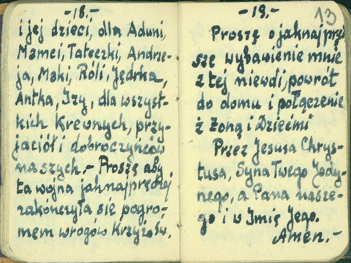 Fotografia. Skan pożółkłej karty z modlitewnika. Pismo odręczne z treścią prośby do Boga.