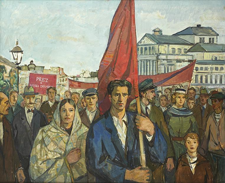 Obraz. Technika: olej na płótnie. Demonstracja przeciw wojnie ze Związkiem Radzieckim. Franciszek Barącz, około 1955 roku. Na pierwszym planie kobieta w chuście okrywającej głowę i ramiona oraz mężczyzna trzymający drzewiec z czerwoną flagą, ujęci do pasa. W tle grupa ludzi trzymająca transparenty.