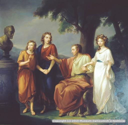 Andrzej Zamoyski z dziećmi: Anną, Aleksandrem i Stanisławem Kostką