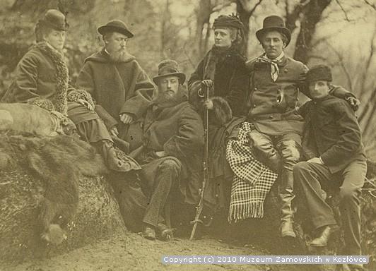 Aniela z Potockich Zamoyska z mężem i przyjaciółmi na polowaniu